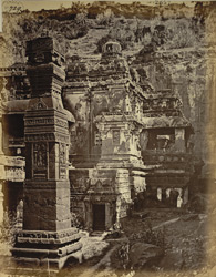 View from the north-east of the dhvajastambha and vimana, Kailasanatha rock-cut temple, Ellora